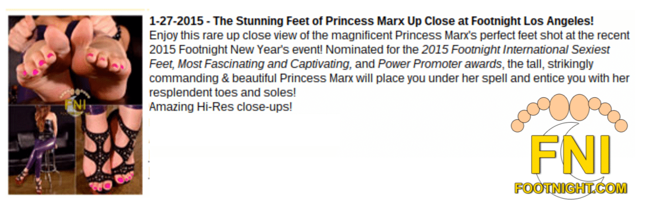 Footnight Endorsement of Princess Marx Review Testimonial Los Angeles Mistress Dominatrix